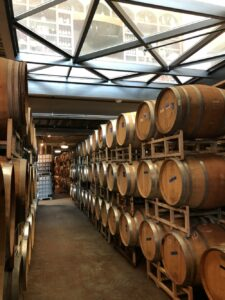 wine barrels in a row